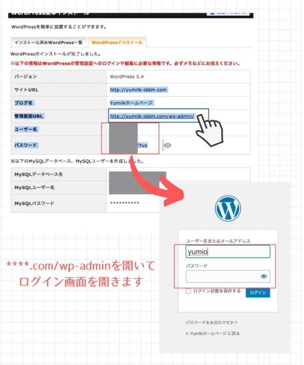 WordPress簡単インストールログイン